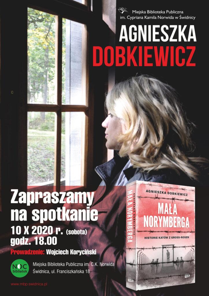 """Plakat promujący spotkanie autorskie z Agnieszka Dobkiewicz, autorką książki """"Mała Norymberga"""" 10.10.2020, godz. 18.00"""