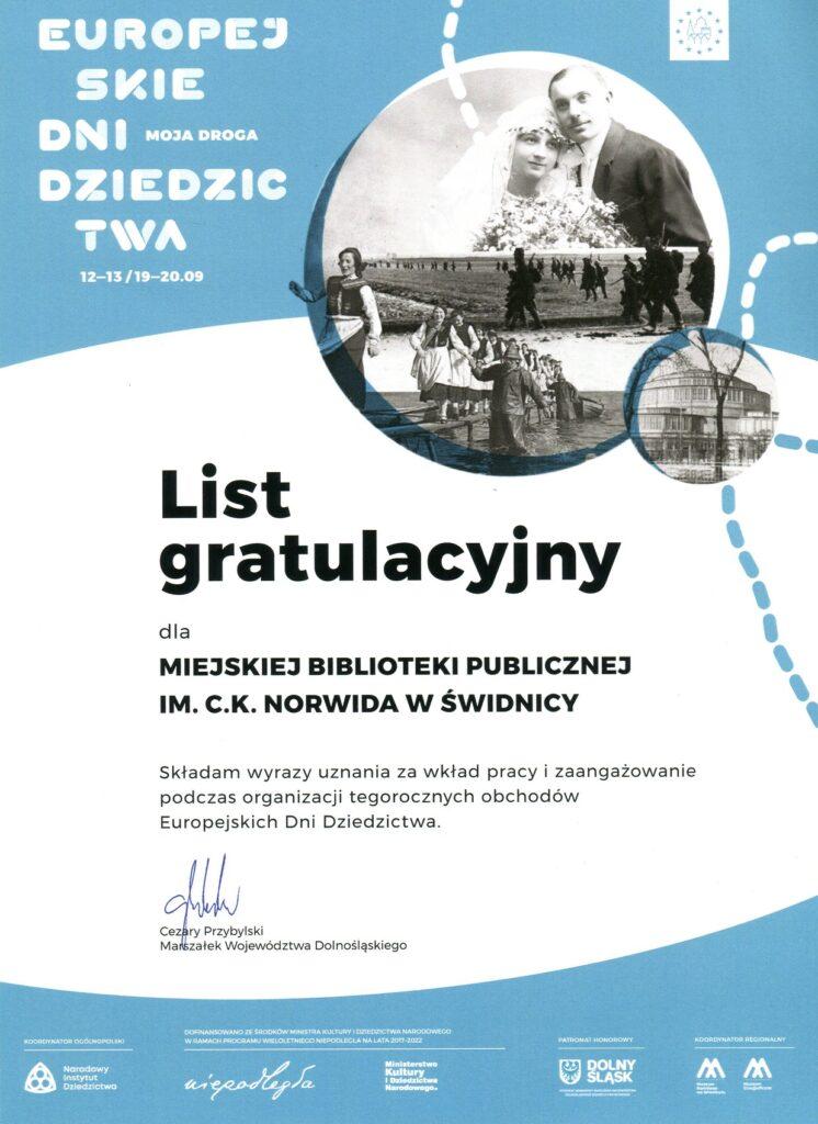 List gratulacyjny - Europejskie Dni Dziedzictwa