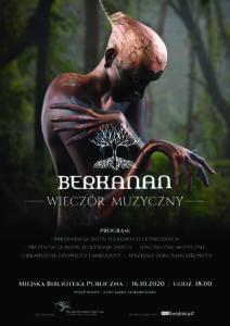 Plakat informujący o wieczorze muzycznym z Berkanan. Program: prezentacja instrumentów folkowych i etnicznych, prezentacja instrumentów