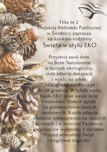grafika dotycząca konkursu Święta w stylu EKO