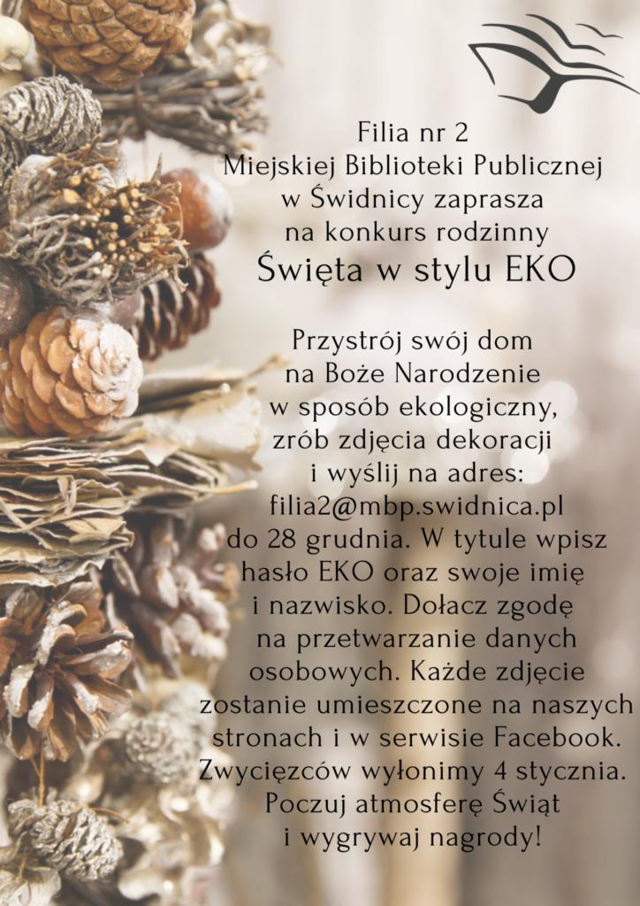 """plakat informacyjny o konkursie """"Święta w stylu EKO"""""""