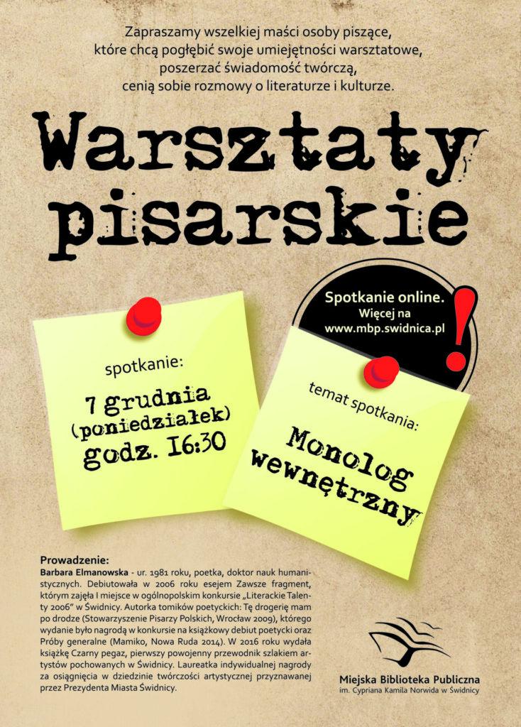 Plakat informacyjny - Warsztaty pisarskie - 7 grudnia godzina 16.30
