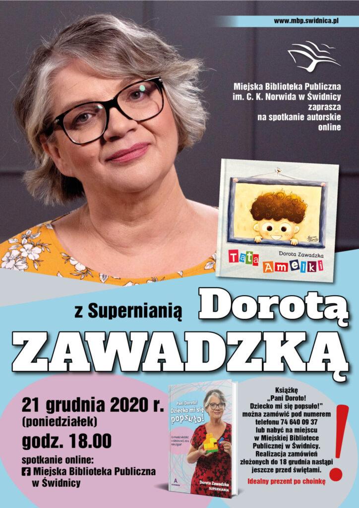 Plakat informujący o spotkaniu online z Supernianią - Dorotą Zawadzką, 21 grudnia 2020 r., godz. 18.00