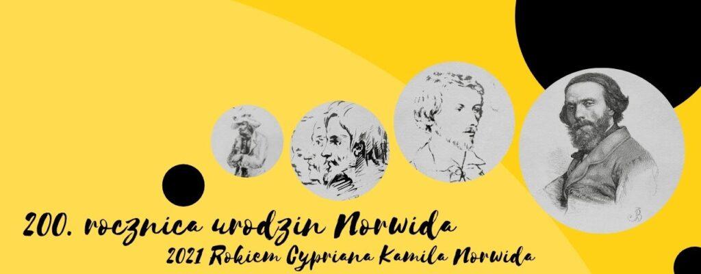 żółta plansza z rycinami Norwida