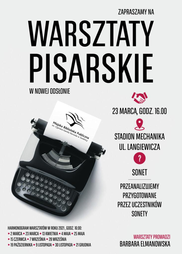 """plakat - Zapraszamy na kolejne warsztaty pisarskie. Kolejne spotkanie 23 marca o godzinie 16.00 odbędzie się na stadionie """"Mechanika""""."""