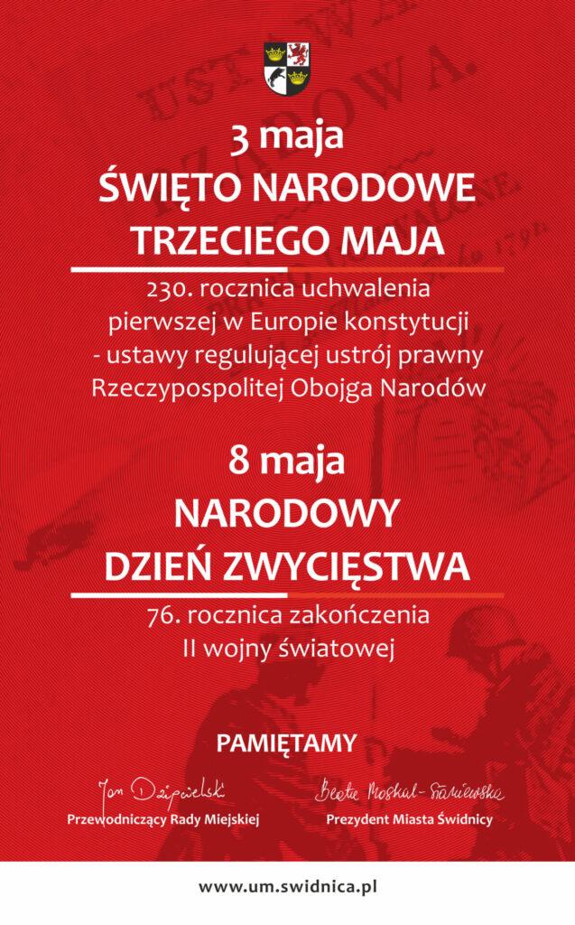 Czerwony plakat informujący o wydarzeniach na Święta Majowe w mieście Świdnica