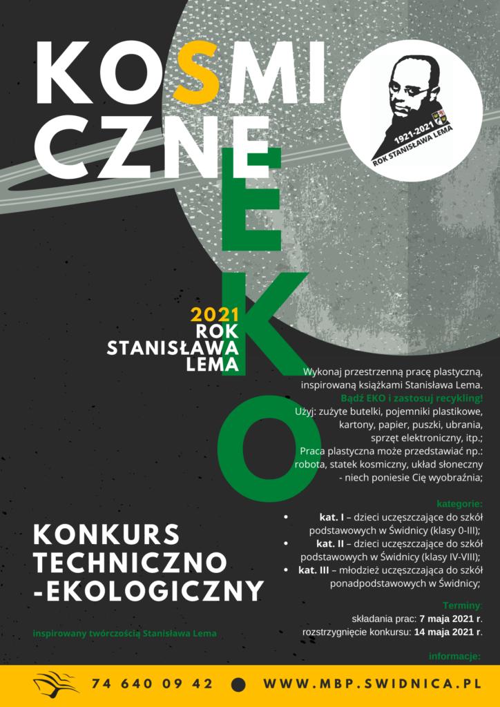 Plakat o konkursie KOSMICZNE EKO, kolor grafitowy, napis biało-zielony