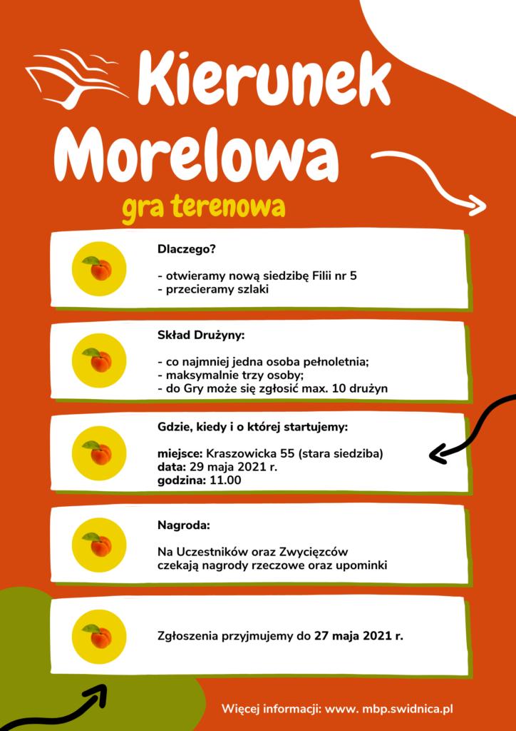 Pomarańczowy plakat z białym napisem Kierunek Morelowa, informujący o grze terenowej