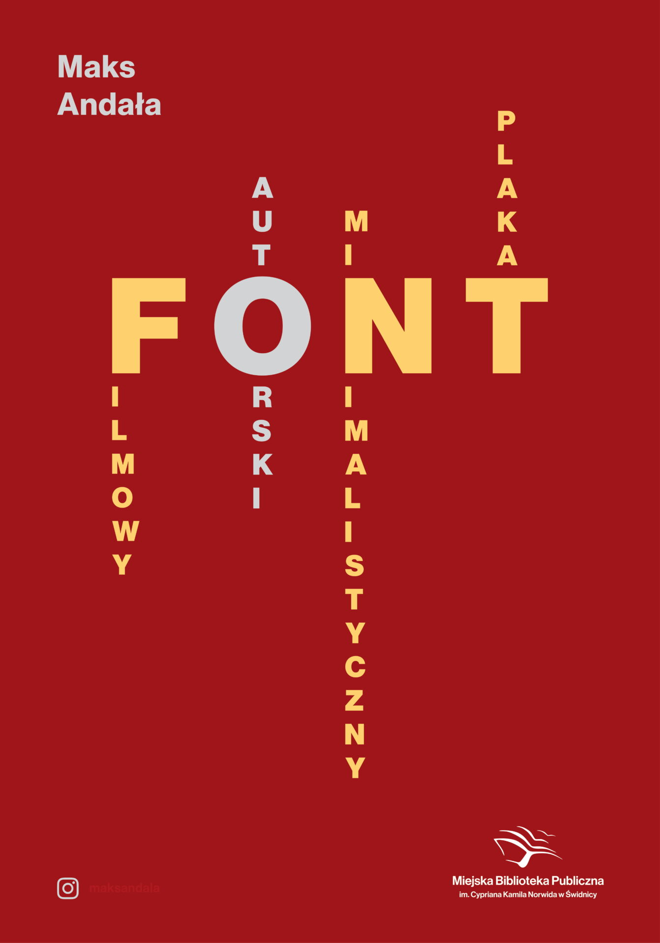 czerwony plakat z napisem FONT