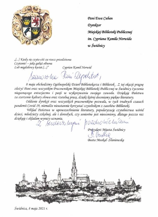 List gratulacyjny od Prezydent Miasta Świdnicy - Beaty Moskal-Słaniewskiej