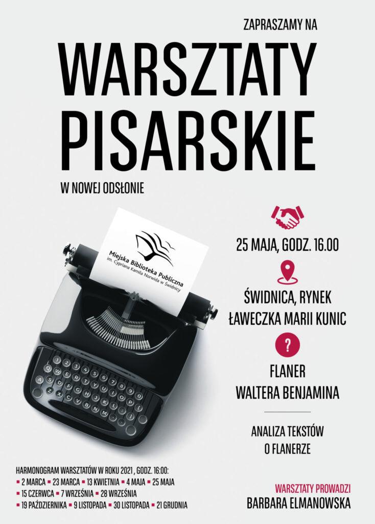 Plakat promujący warsztaty pisarskie, szary w tle maszyna do pisania oraz informacje o warsztatach
