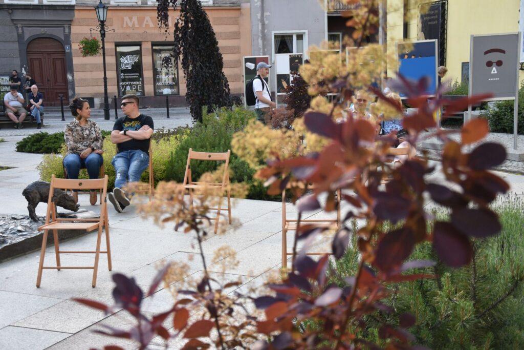 Biesiada literacka na placu z Dzikami przy bibliotece - widownia
