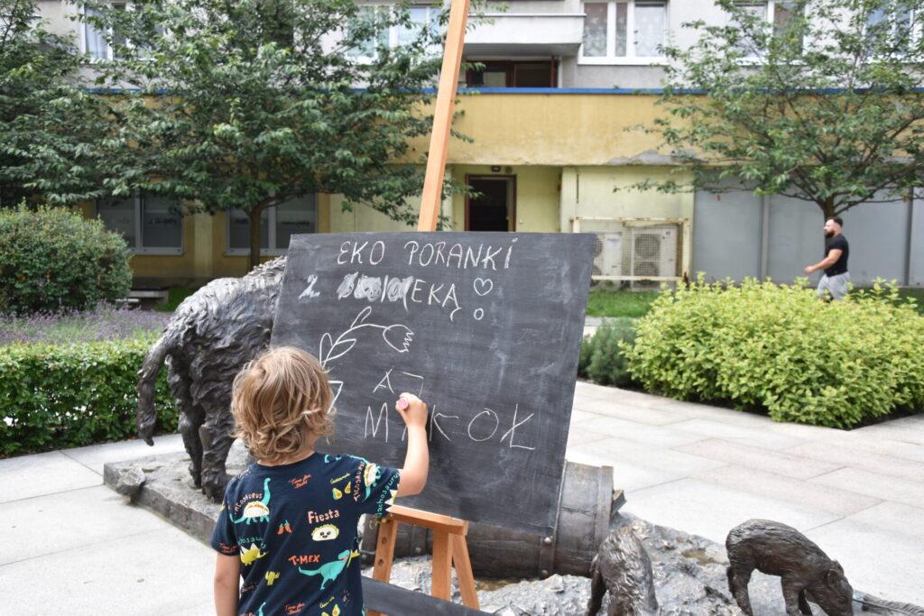 dziecko pisze po tablicy