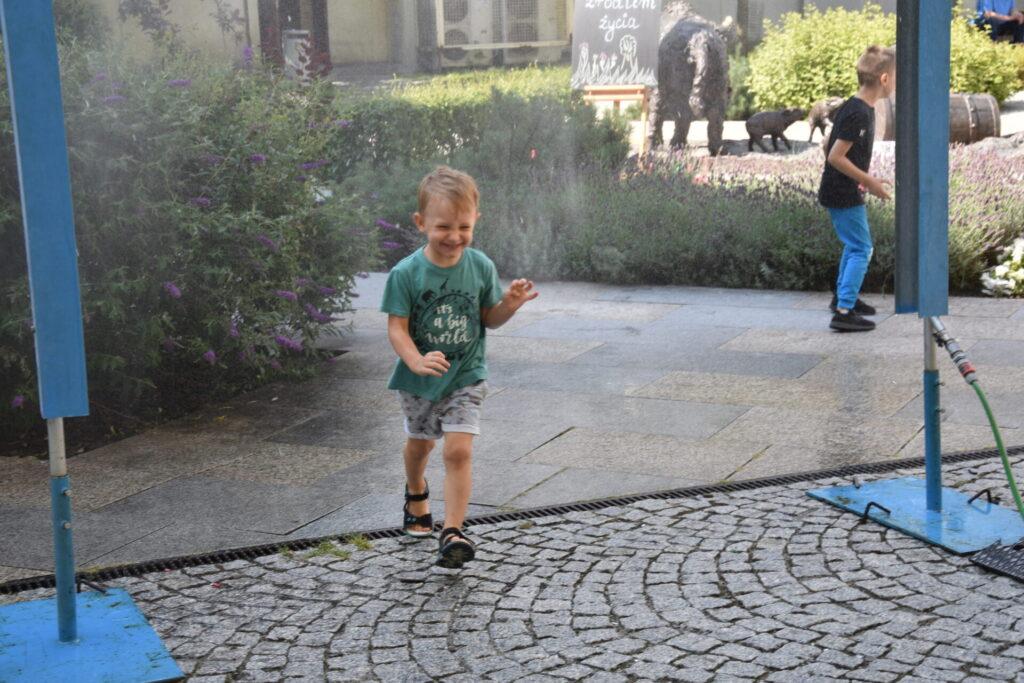EKO poranek na skwerze z dzikami - wodne zabawy kurtyna wodna