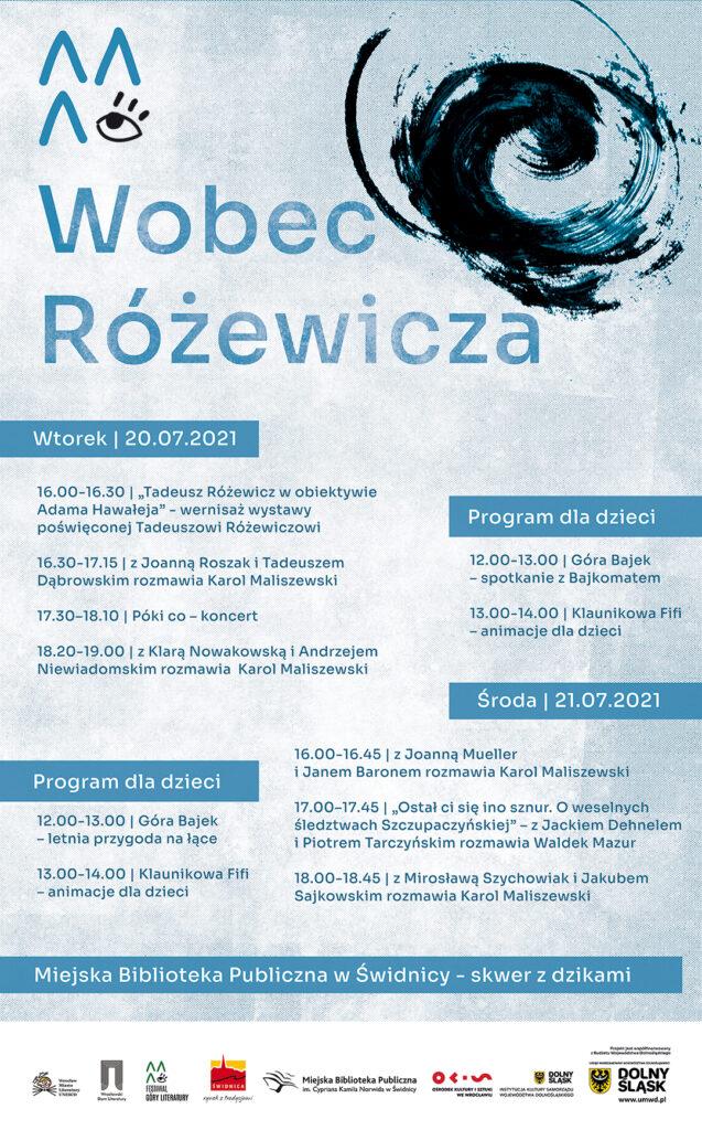 """Plakat informujący o wydarzeniu """"WOBEC RÓŻEWICZA"""""""