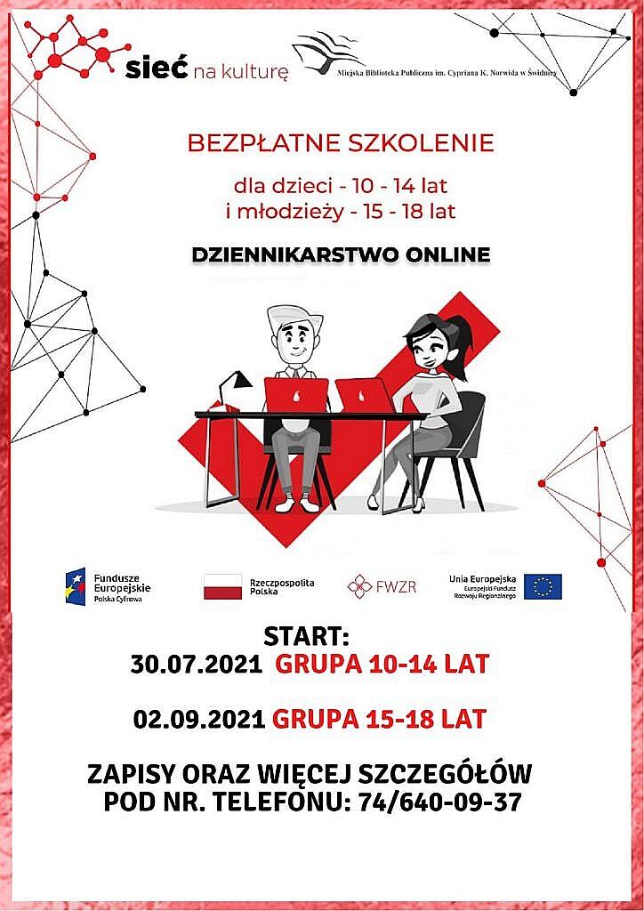 plakat informujący o szkoleniu dziennikarstwo online