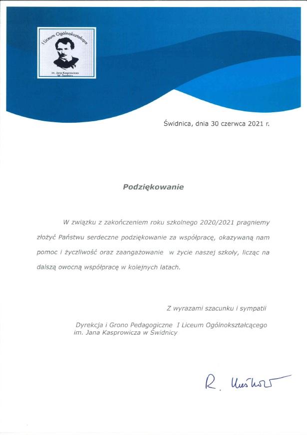 Podziękowanie za współpracę od Dyrekcji i Grona Pedagogicznego I Liceum Ogólnokształcącego w Świdnicy