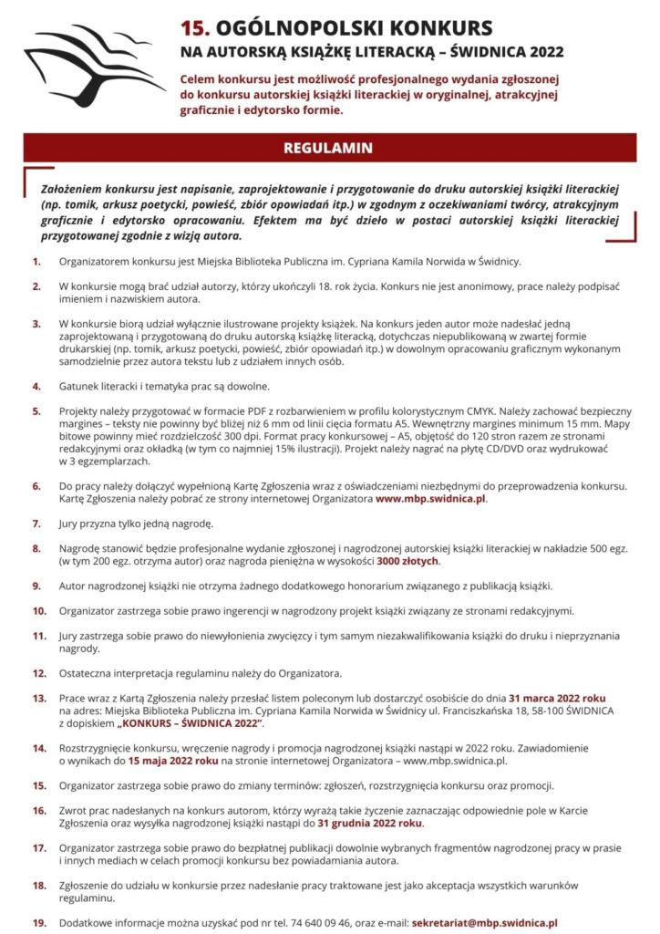 Regulamin 15. Ogólnopolski Konkurs na Autorską Książkę Literacką - Świdnica 2022