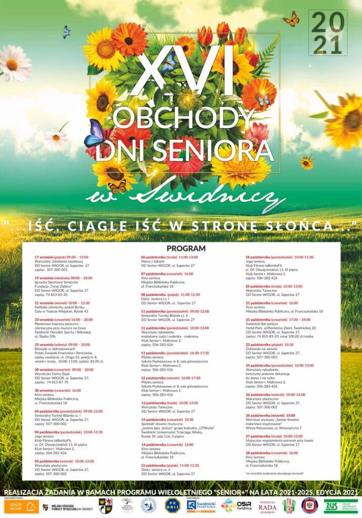 Plakat z programem obchodów Dni Seniora w Świdnicy - na kwiecistym tle tekst