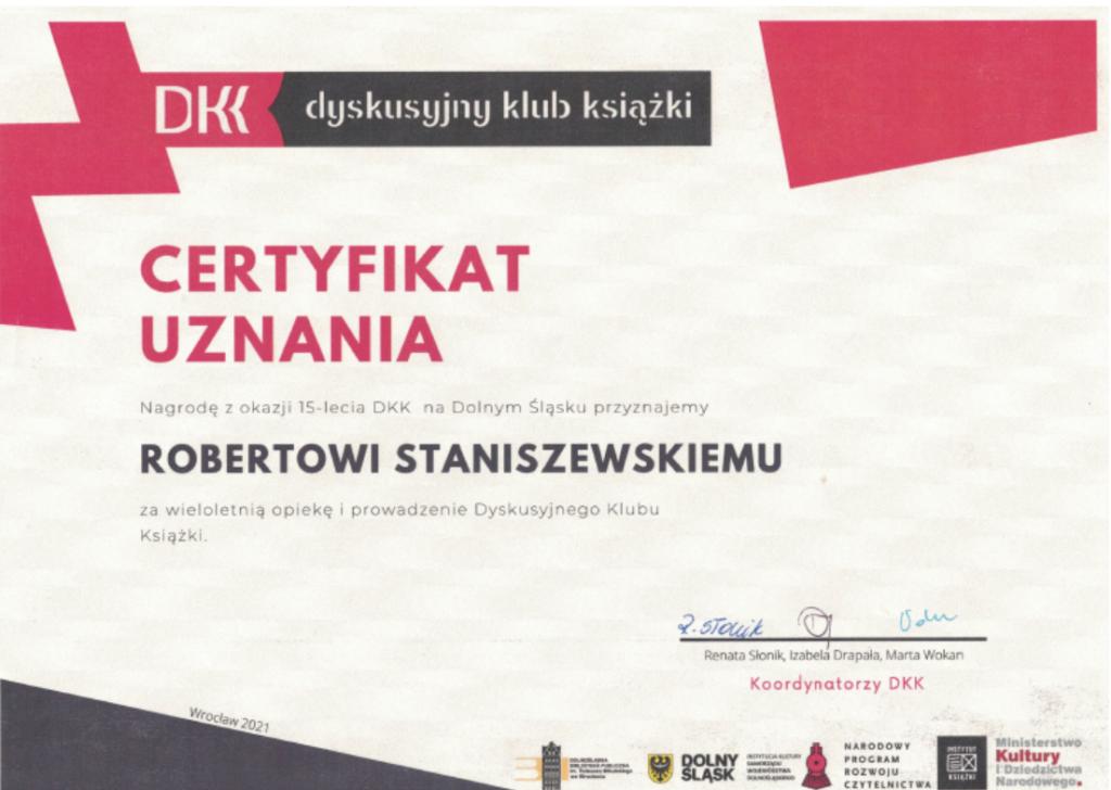 Certyfikat uznania dla Roberta Staniszewskiego w ramach dyskusyjnego klub ksiązki